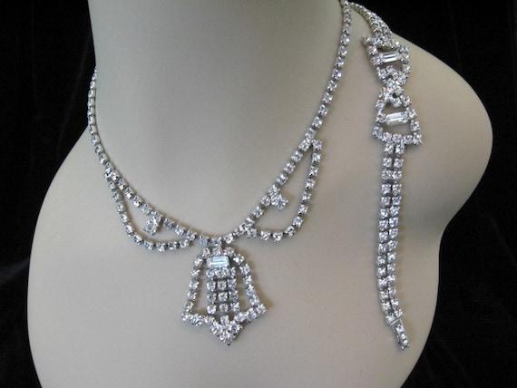 Vintage Rhinestone Jewelry Clear Rhinestone Necklace and Bracelet Set