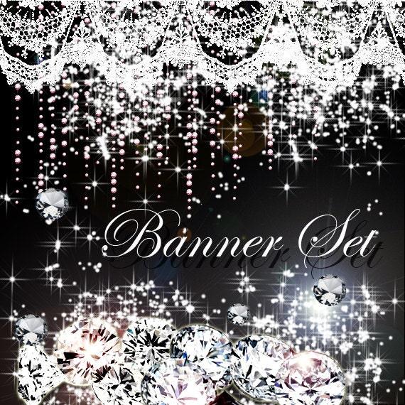 Premade Etsy Shop Banner Avatar Set - Pretty rhinestones crystal diamond Designs black background - no443