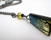Resin necklace , tree necklace,approaching night necklace, indigo and yellow necklace