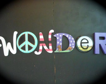 Jez4U Custom Whimsy Hand painted Letters Special ORDER for the Word WONDER