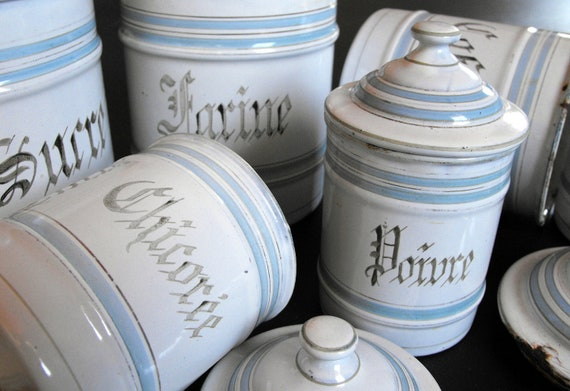 RESERVED FOR MELINDA 6 French Vintage Enamelware Cannisters