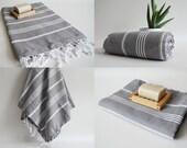 Free Shipment SET 6 Piece Turkish BATH Towel - Classic Peshtemal - Dark Gray