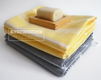 SALE 50 OFF / SET 4 / Turkish Beach Bath Towel / Classic Peshtemal / Warm Gray - Yellow / Wedding Gift, Spa, Swim, Pool Towels and Pareo
