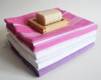 Free Shipment SET 4 Piece Turkish BATH Towel - Classic Peshtemal - 2 White -1 Pink -1 Purple