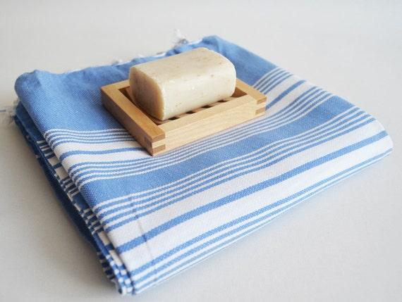 Turkish BATH Towel - Classic Peshtemal - Blue (white striped)