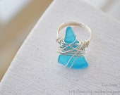 Custom Seaglass Rings - lavender, aqua, cobalt, crystal clear - seaglass wire-wrapped rings