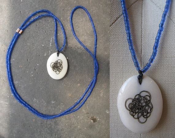 Hand drawn vintage ivory pendant necklace / blue glass beads / OOAK / FREE SHIPPING