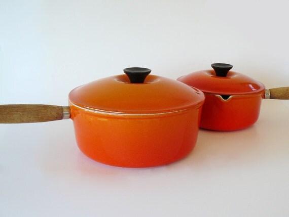 Vintage Le Crueset Flame 5 Piece Cookware Set Wood Handles Made in France