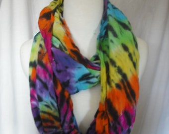 Circular Tie Dye Scarf/Wrap with black accents