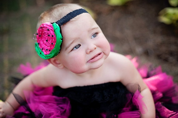 Watermelon Rosette Headband With Swarovski Crystals