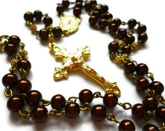 Chocolate Pearl Rosary