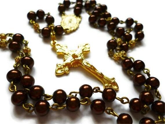 Chocolate Pearl Rosary