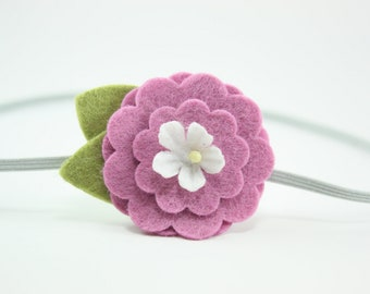 Violet Rose - Felt Flower headband - Baby Headband - Newborn Headband - Toddler Headband - Girls Headband