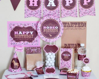 Cowgirl Birthday Party Decorations Printable - Cowgirl Birthday Party Supplies - Cowgirl Birthday Decoration - Pink Brown Cowgirl Party