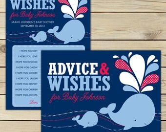 Whale Baby Shower Wishes For Baby Boy - Boy Baby Shower Wells Wishes For Baby - Advice Cards Printable - Red Navy Blue Baby Shower Games