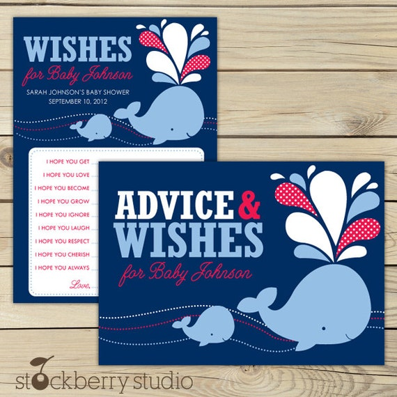 Whale Baby Shower Wishes for Baby Boy Card Printable - Advice For Mommy To Be - Well Wishes For Baby - Navy Blue and Red - Advice Cards