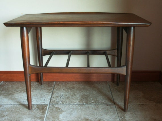 Beautiful Mid Century Modern End Table with Surfboard Edges - Solid Wood