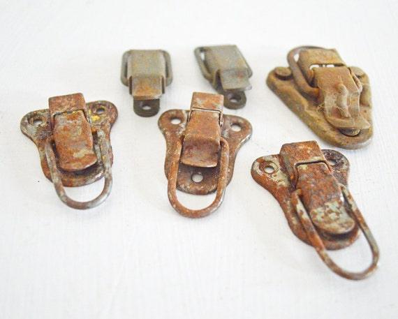 Six Vintage Metal Clasps Rusty Industrial Rustic Patina Silver Brown Salvage Vintage Supply Mixed Media Assemblage Set Collection