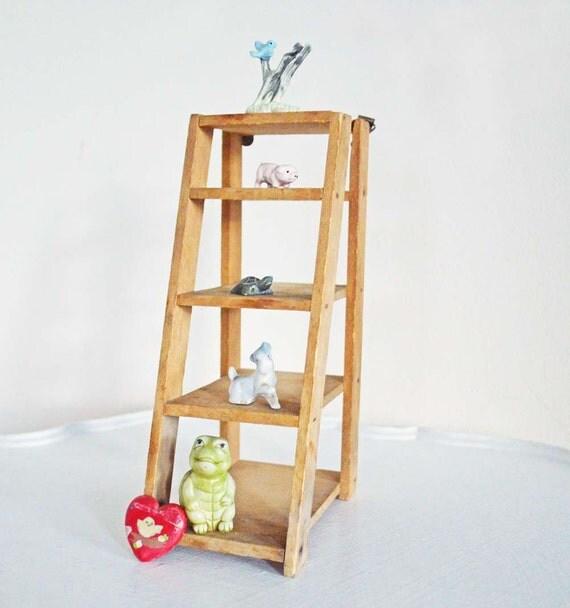 vintage wood ladder wall shelf mini display step brown rustic. Black Bedroom Furniture Sets. Home Design Ideas