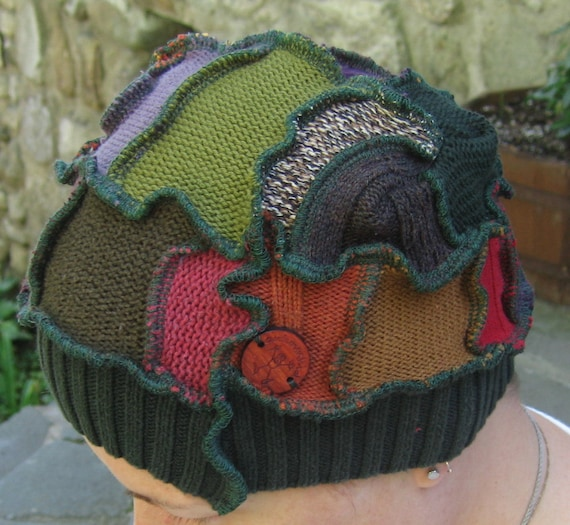 around the harvest fire sprite hat, recycled sweaters, upcycled, vegan, gypsy, hippie, free shipping in usa and canada