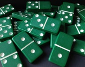 Vintage Puremco Marblelike GREEN Dominoes Set of 28 - Standard 616 Bakelite