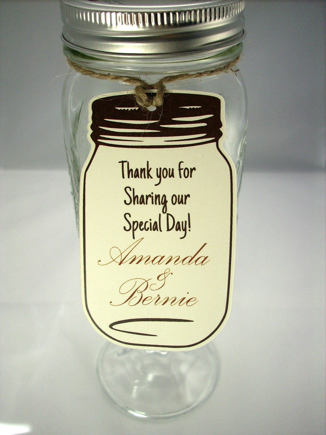 Wedding Favor Tags For Mason Jars : Favor Tags 20 Mason Jar Wedding Favor Tags Rustic Wedding