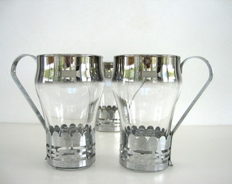 Glass Tumblers with Holder Silver Fade Glasses Ombre MCM Set 3