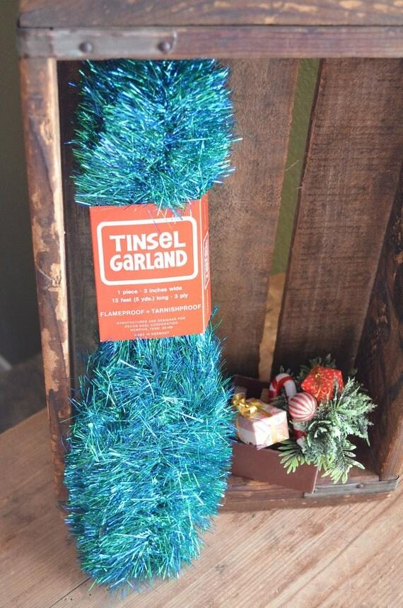 Vintage blue green tinsel garland christmas tree hanukkah