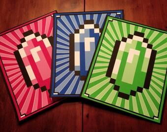"""Red Blue & Green Rupees (Zelda inspired Silkscreen Prints) - 8"""" x 10"""" SALE"""