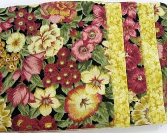 Maroon and Yellow Floral  40 - 4 inch Fabric Quilt  Squares