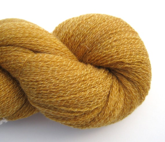 Lace Weight Merino Wool Recycled Yarn, Two Skeins, 510 yards, Goldenrod Yellow Marl