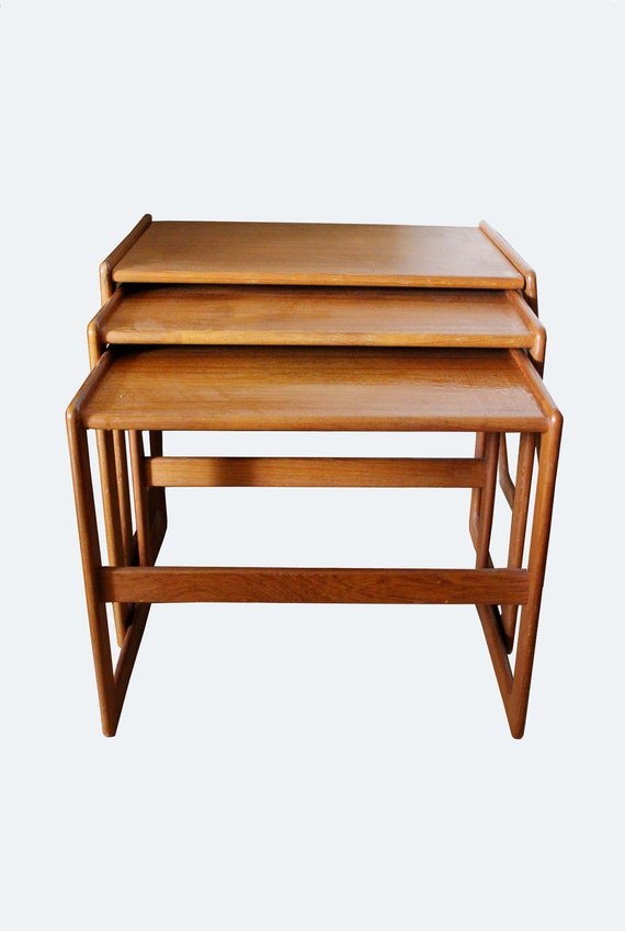 Set of 3 Mid Century Danish Modern Nesting Tables