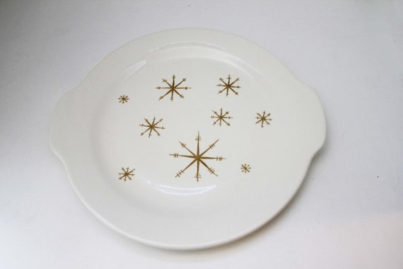 Dinnerware Set by Royal China - Star Glow Line - Mid Century Modern Atomic Starbursts Cake Platter