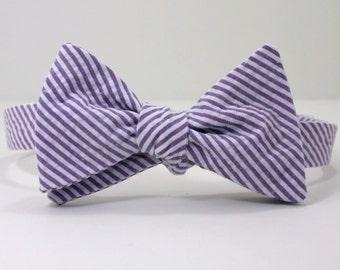 Purple Seersucker Bow Tie