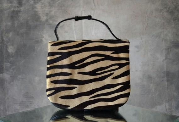Zebra Print 1960s pony hair Handbag/Muff