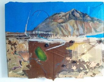 Alchemy at Anapra  original painting, ciudad juarez - el paso border . cardboard barrio