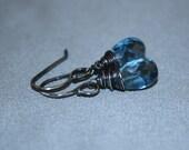 London Blue Topaz Earrings, Argentium Sterling silver, Wire Wrapped, Oxidized, OOAK