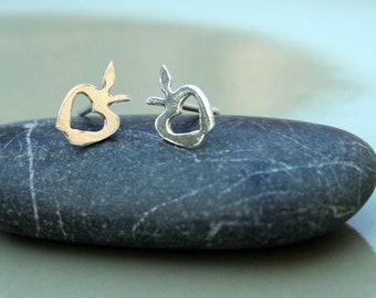 Silver Stud earrings - Silver earring studs - Apple and heart earrings - small earrings