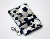 Custom fabric cell phone holder, iPhone 6 6s Plus, iPhone 7 plus, 5 5s 5c 4s 4 smartphone, wallet, case, purse, sleeve, pouch-soccer