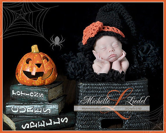 PDF Instant Download Easy Crochet Pattern No 265 Witch Hat photo prop All sizes from newborn to adult