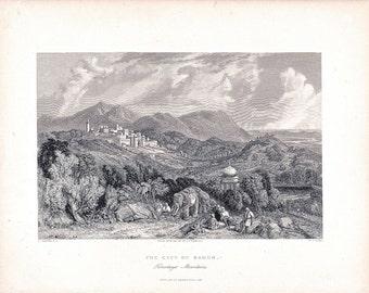 Antique Steel Engraving, CITY OF NAHUN, Himalaya Mountains, 1843