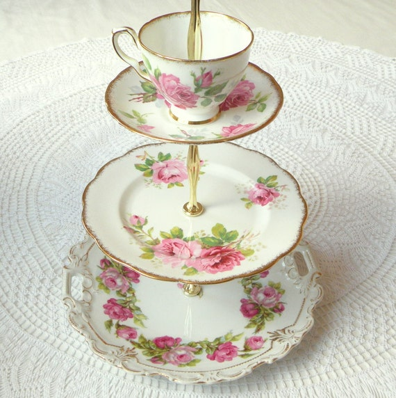 Alice Sends Roses, Floral Pink Cupcake Stand Vintage China Cake Plate for Wedding, Birthday Party or High Tea