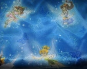 Tinkerbell and friends silky yardage fabric