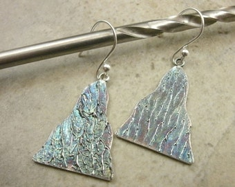 Lightning Texture Earrings in Fine Silver - Blue Patina- Abstract Jewelry- April Showers- Spring Shower- Pierced Earrings- Lightening Earing