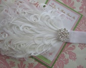 Baby headbands - white nagorie feather headbands - girl headbands - christening headbands
