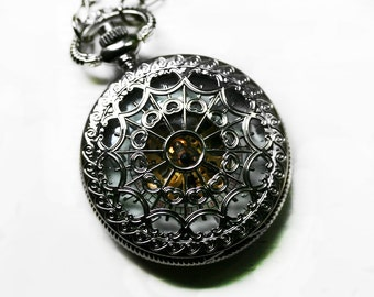 Mens Pocket Watch with Exposed Gears - Silver