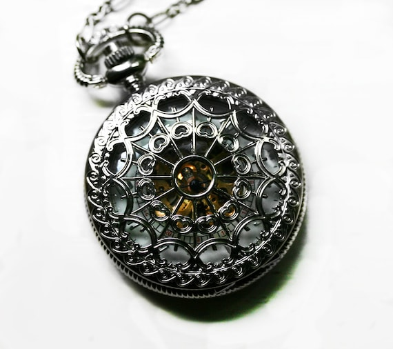 Mens Pocket Watch with Exposed Gears Silver