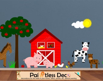 Farm Animal Wall Decal with Barn, Pigs, Horse, Chicken, Rooster, Baby Chicks, Cow - Lollipop Animal Wall Decal Stickers - Reusable -FA3 -HD