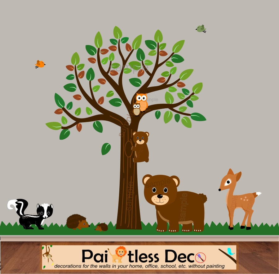 woodland forest buddies animals wall decal by paintlessdeco. Black Bedroom Furniture Sets. Home Design Ideas