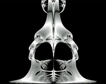 "Stunning Black & White abstract, ""Crusader Helmet Skeleton"", haunting, war, eerie, ghosts, fractal, Fine Art Giclee 11x14 print, PhillyLOVE"